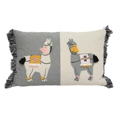 Two Llama Cushion - Saffron Pink & Grey 35x55cm