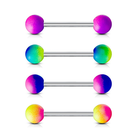 Two Tone Rubber Coating 316L Surgical Steel Barbells