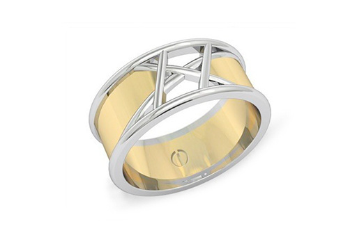 two-toned white and yellow gold modern men's wedding ring
