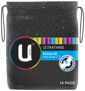 U by Kotex Regular Ultrathins With Wings, 14 Pads