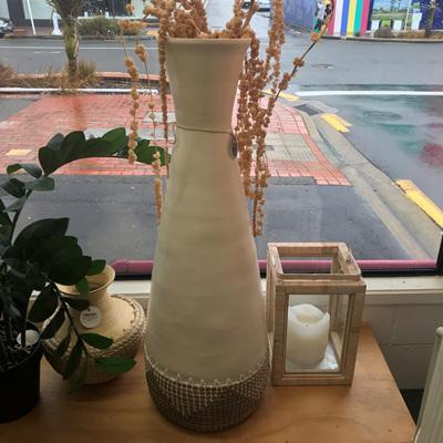 Uluwatu Bamboo & Seagrass Vase - White