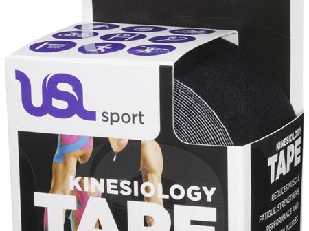 USL Premium Kinesiology Tex Tape Black 5cm x 5m