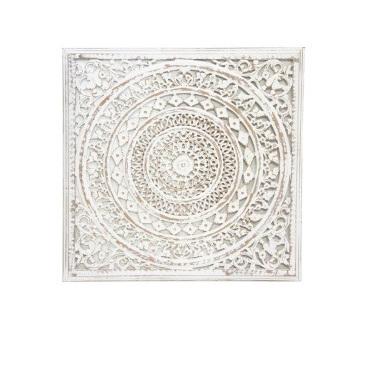 Uzma Carved Wood Panel - White Wash 122cm