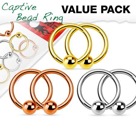 Value Pack 3 Pairs Annealed  IP Captive Bead Rings