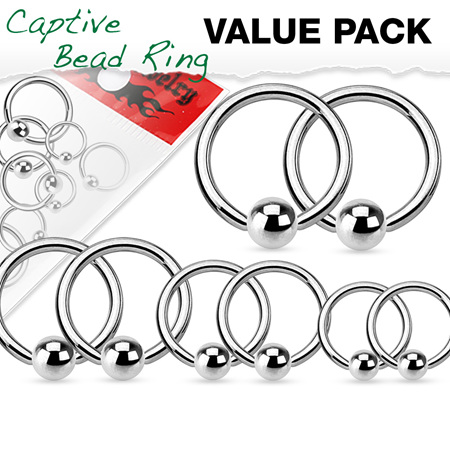 Value Pack 4 Pairs Annealed Surgical Steel Captive Bead Rings