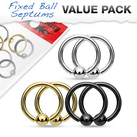 Value Packs 3 Pairs Fixed Ball Captive Bead Ring