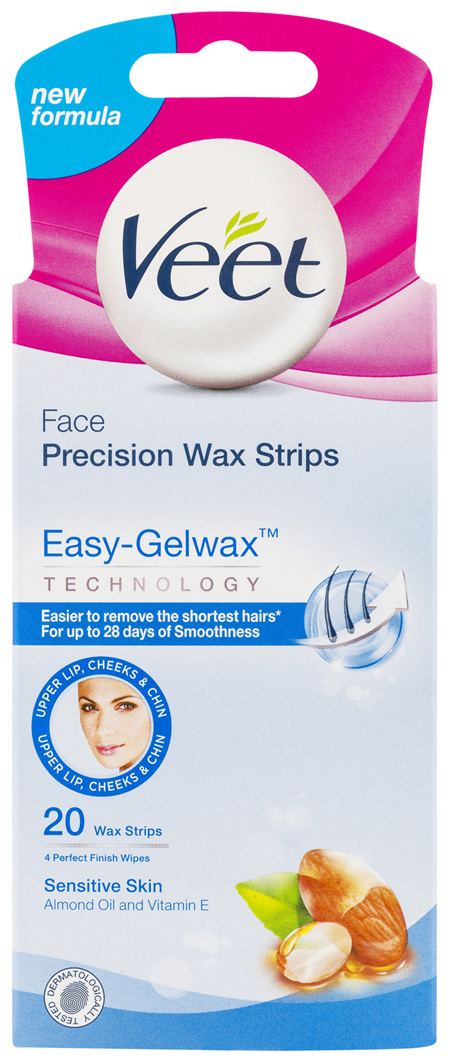 Veet Easy-Gel Face Wax Strips For Sensitive Skin Almond Oil 20 Wax Strips 4 Perfect Finish Wipes