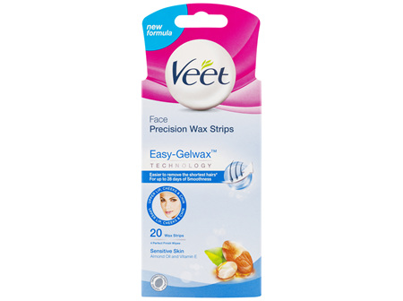 Veet Easy-Gel Face Wax Strips For Sensitive Skin Almond Oil 20 Wax Strips 4 Perfect Finish Wipes