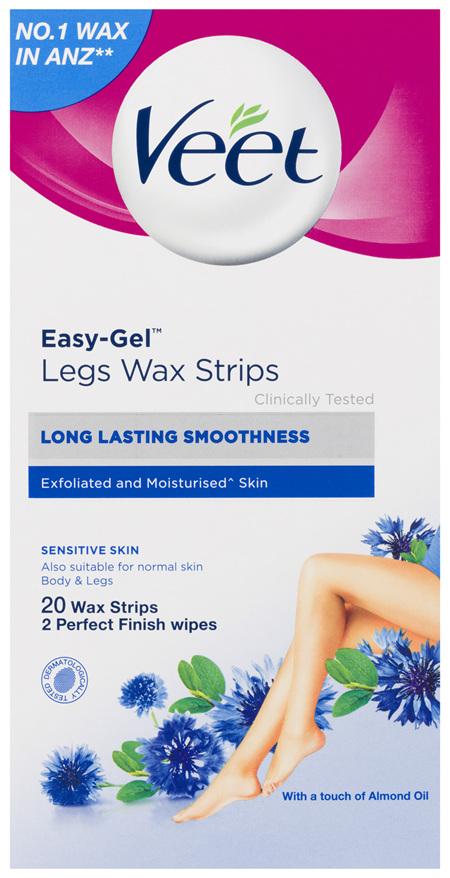 Veet Easy-Gel Legs Wax Strips For Sensitive Skin Almond Oil 20 Wax Strips 2 Perfect Finish Wipes