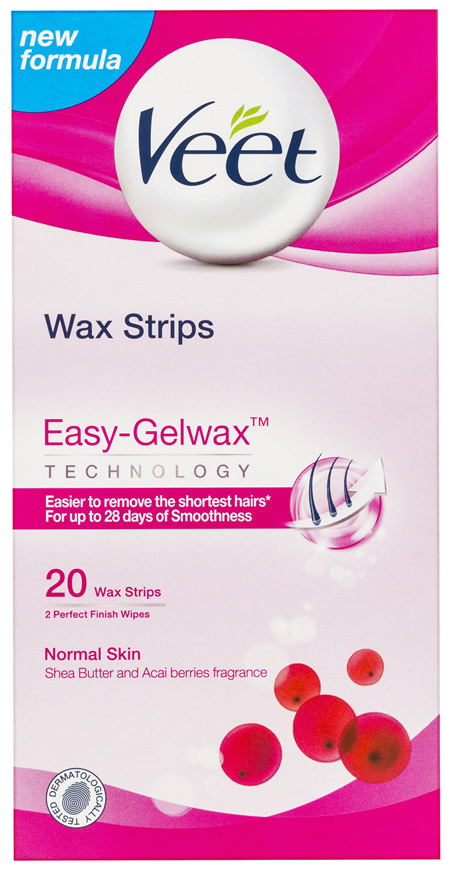 Veet Easy-Gel Legs Wax Strips Shea Butter and Acai Berries Scent