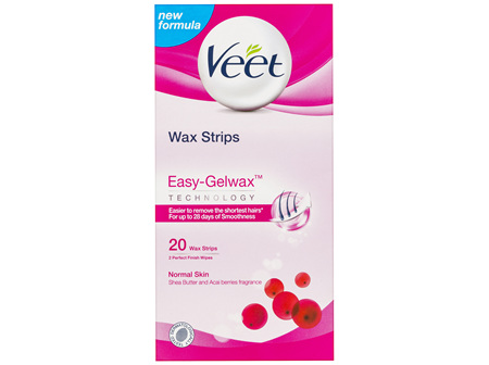 Veet Easy-Gel Legs Wax Strips Shea Butter and Acai Berries Scent