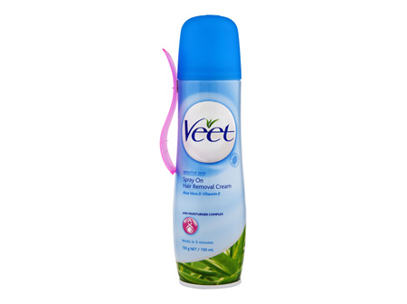 Veet Spray On Cream for Sensitive Skin Hair Removal 150g