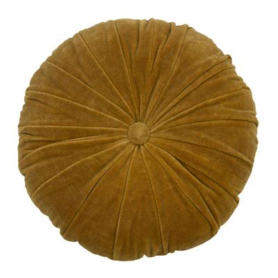 Velvet/Linen Round Cushion Oak Buff
