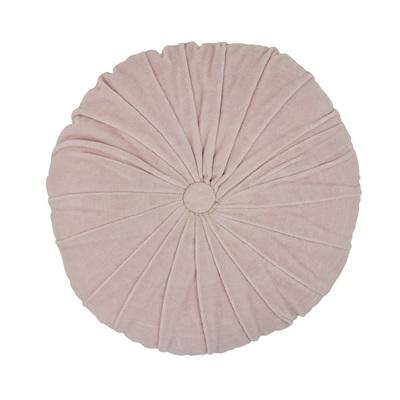Velvet/Linen Round Cushion - Pink