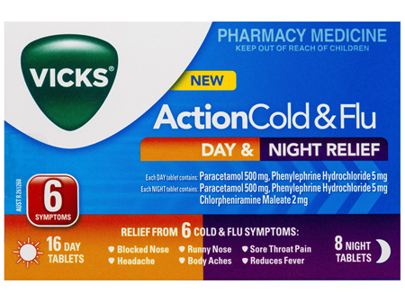 Vicks Action Cold & Flu Tablets Day & Night Relief 24 Pack