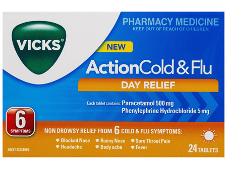 Vicks Action Cold & Flu Tablets Day Relief 24 Pack