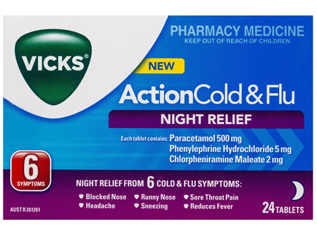 Vicks Action Cold & Flu Tablets Night Relief 24 Pack