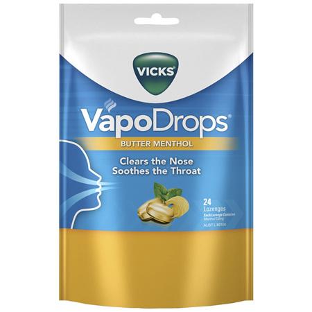 Vicks VapoDrops Butter Menthol Lozenges 24 Pack