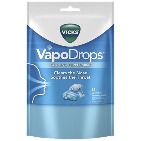 Vicks VapoDrops Cooling Peppermint Lozenges 24 Pack