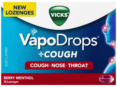 VICKS VapoDrops +COUGH Berry Menthol 36 Lozenges