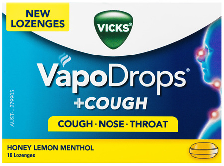 VICKS VapoDrops +COUGH Honey Lemon Menthol 16 Lozenges