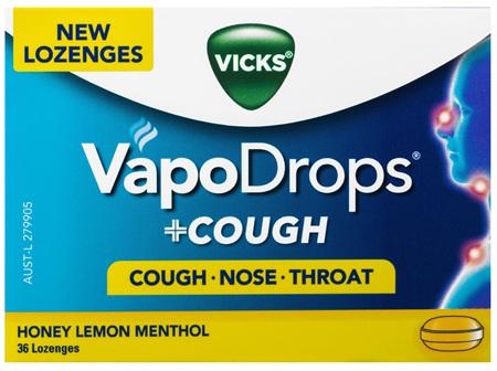 Vicks VapoDrops + Cough Honey Lemon Menthol 36 Lozenges