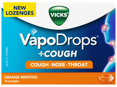 VICKS VapoDrops +COUGH Orange Menthol 16 lozenges