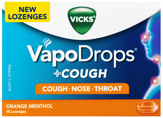 VICKS VapoDrops +COUGH Orange Menthol 16 lozenges