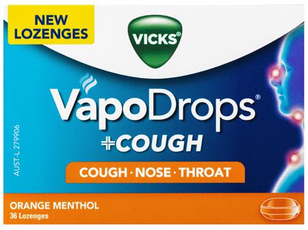 VICKS VapoDrops +COUGH Orange Menthol 36 lozenges