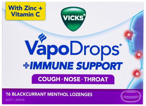 Vicks VapoDrops Immune Support Blackcurrant 16pk