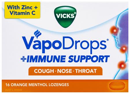 Vicks VapoDrops Immune Support Orange 16pk