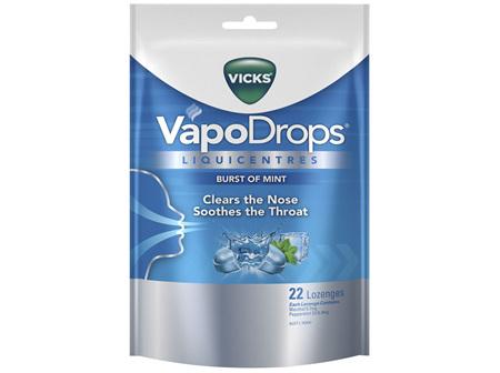Vicks VapoDrops Liquicentres Burst of Mint Lozenges 22 Pack