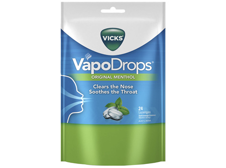 Vicks VapoDrops Original Menthol Lozenges 24 Pack