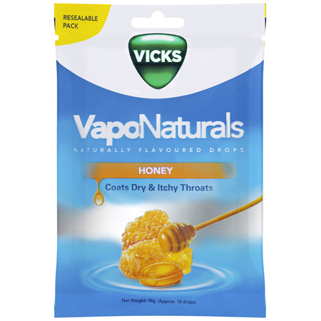 Vicks VapoNaturals Honey Flavoured Drops Naturally Flavoured  19s Resealable Bag