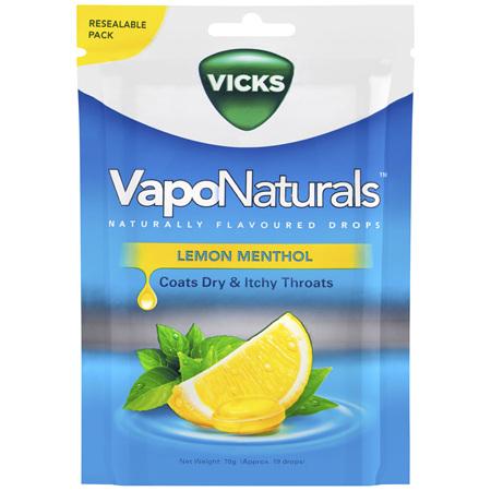 Vicks VapoNaturals Lemon Menthol Flavoured Drops 19 Naturally Flavoured Drops 70g Resealable Bag