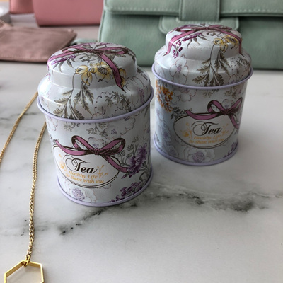 Vintage Beehive Tea Tins Pink Ribbon