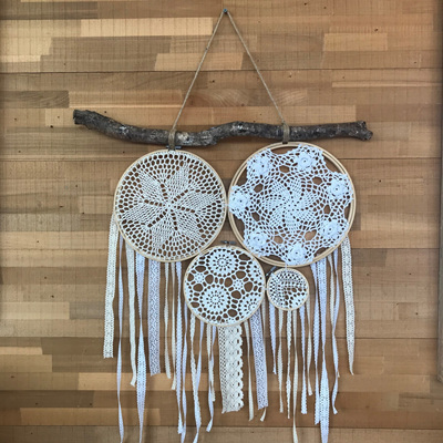Vintage Lace 4 Cluster Dream Catcher with Driftwood