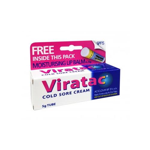 Viratac Cold Sore Cream 5g Plus Lip Balm