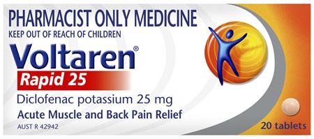 Voltaren Rapid 25 Pain Relief Tablets 20 Pack
