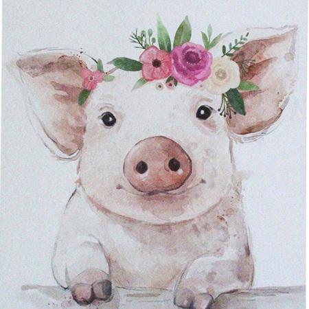 Wall Art Mini Pig Flowers