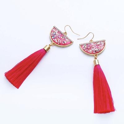 Waltz Away Tassel Earrings - Watermelon