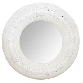 Weave Bamboo Mirror - 91cmh - White