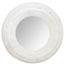 Weave Bamboo Mirror - 91cmh - White