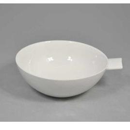 Wedge Handle Bowl White Ceramic