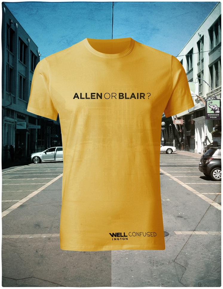 Well Confused, Black on Yellow T-Shirt - Allen or Blair
