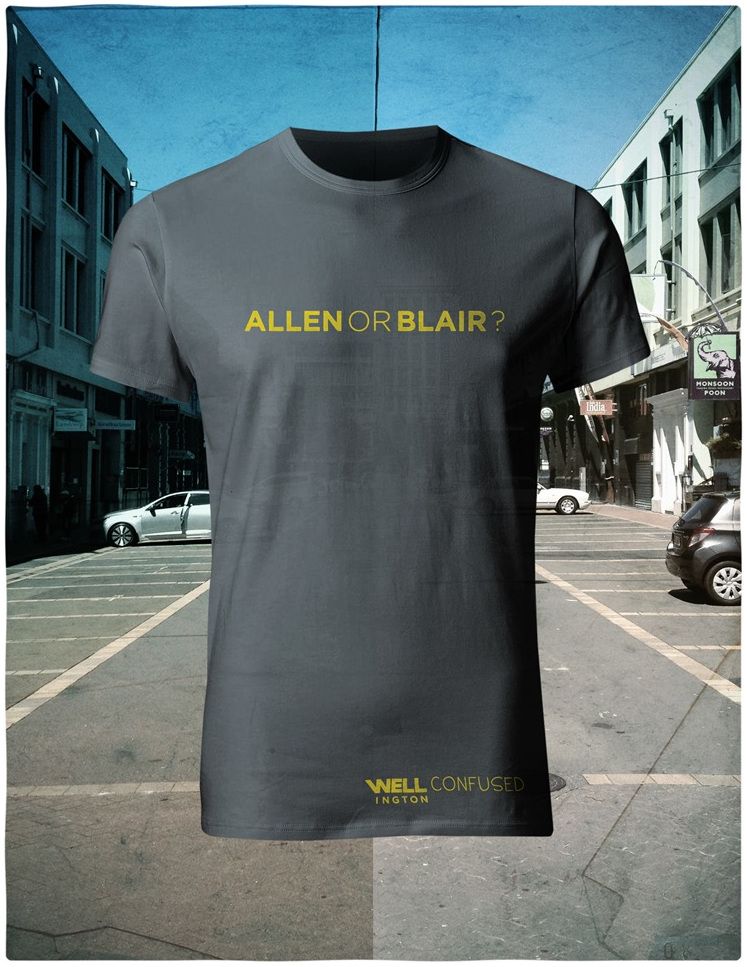 Well Confused, Yellow on Charcoal T-Shirt - Allen or Blair