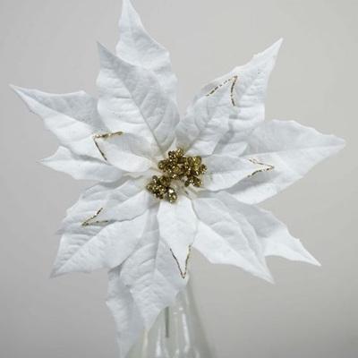 White/Gold Poinsettia Pick 12.5cm