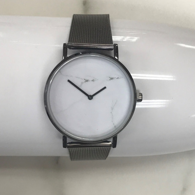 White Marble Watch - Black Strap