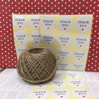 White Thank You Sticker 24pc WAS $3.90