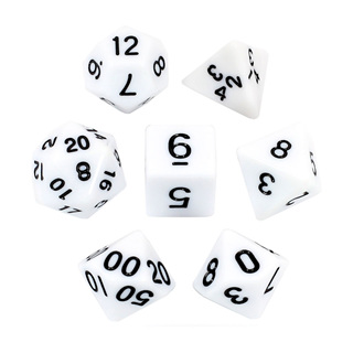 7 White with Black Standard Dice